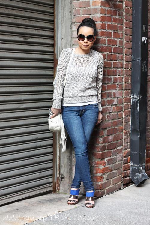 Old Navy Crochet Sweater + Glint & Gleam Airplane Ring + Zara Blue Sandals