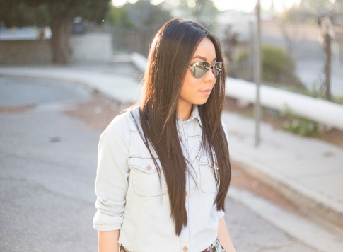 An Dyer wearing BCBGeneration Alexander The Jirt Chambray Denim Shirt, Mirrored Aviators